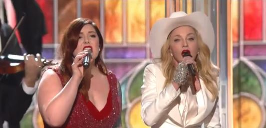 """The fabulous Mary Lambert and Madonna duet for """"Same Love"""" live at The Grammy Awards."""