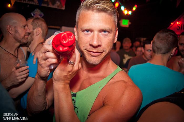 Dame Terry Miller: Spokes Model for the WORLD enjoying an Oxballs.com adult novelty. Photo: Rachel Robinson for Nark Magazine