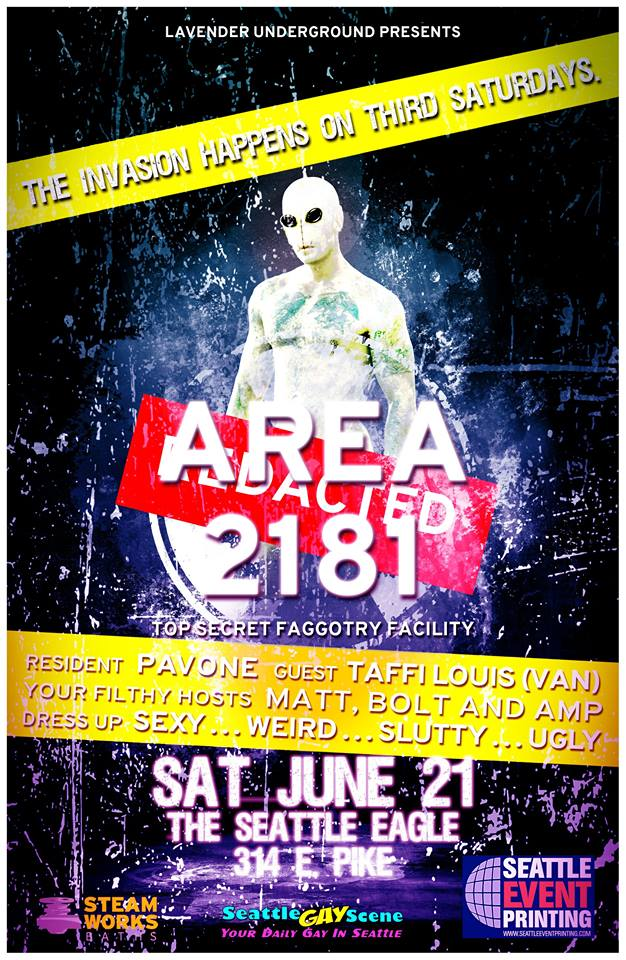 A NEW filthy party is coming to the Eagle on June 21: AREA 2181!!!