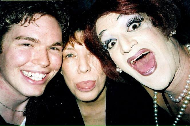 """DonnaTella in Michael mode back in the """"ole days"""" with Lily Tomlin and Mark """"Mom"""" Finley."""