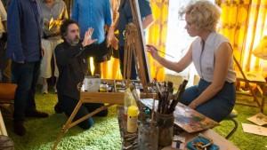 Tim Burton and Amy Adams on the set of Big Eyes